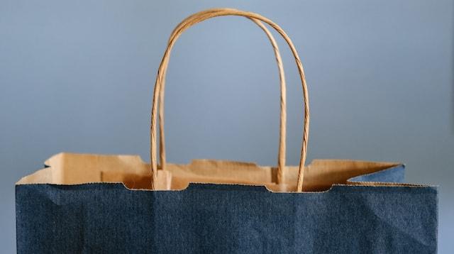 独特的经营理念蓝色纸袋